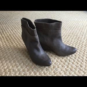 New Bronx Gray Leather Ankle  Wedge Booties 37/6.5